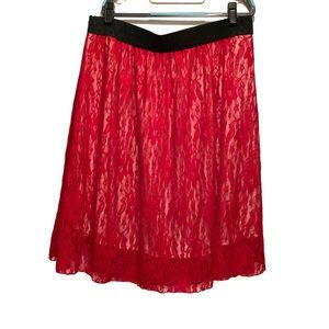 Lularoe LOLA Red Lace Skirt NWOT